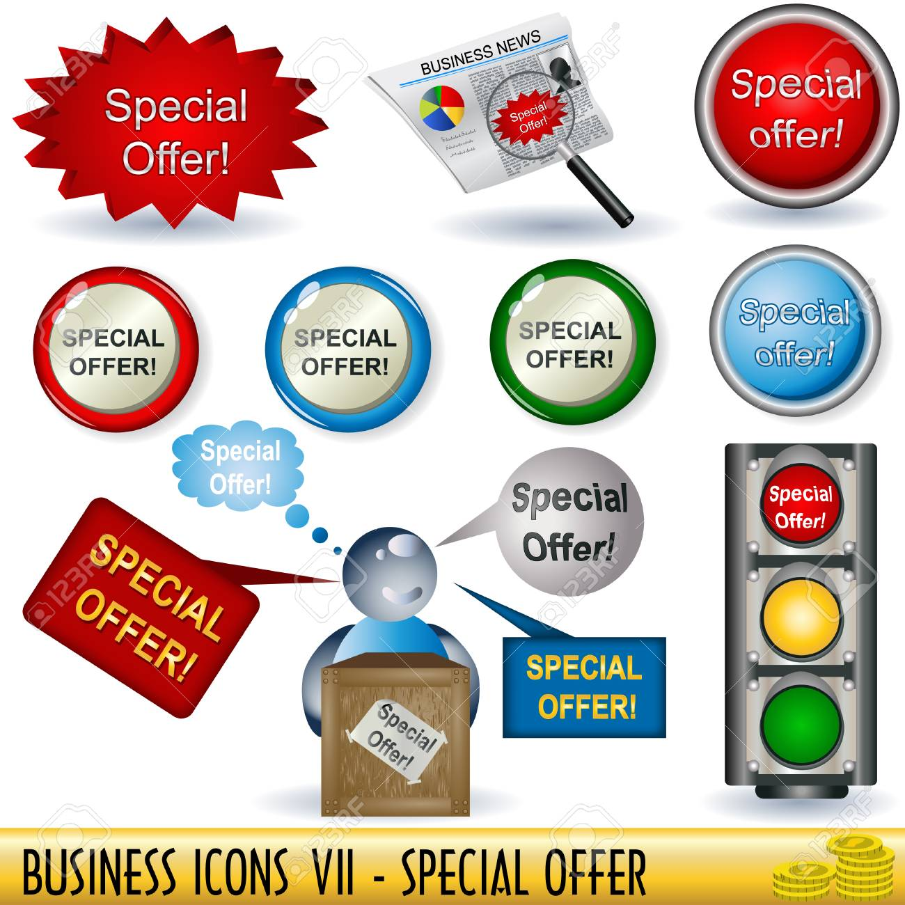 Set of business icons, special offer, along with appropriate buttons Stock Vector - 7104230