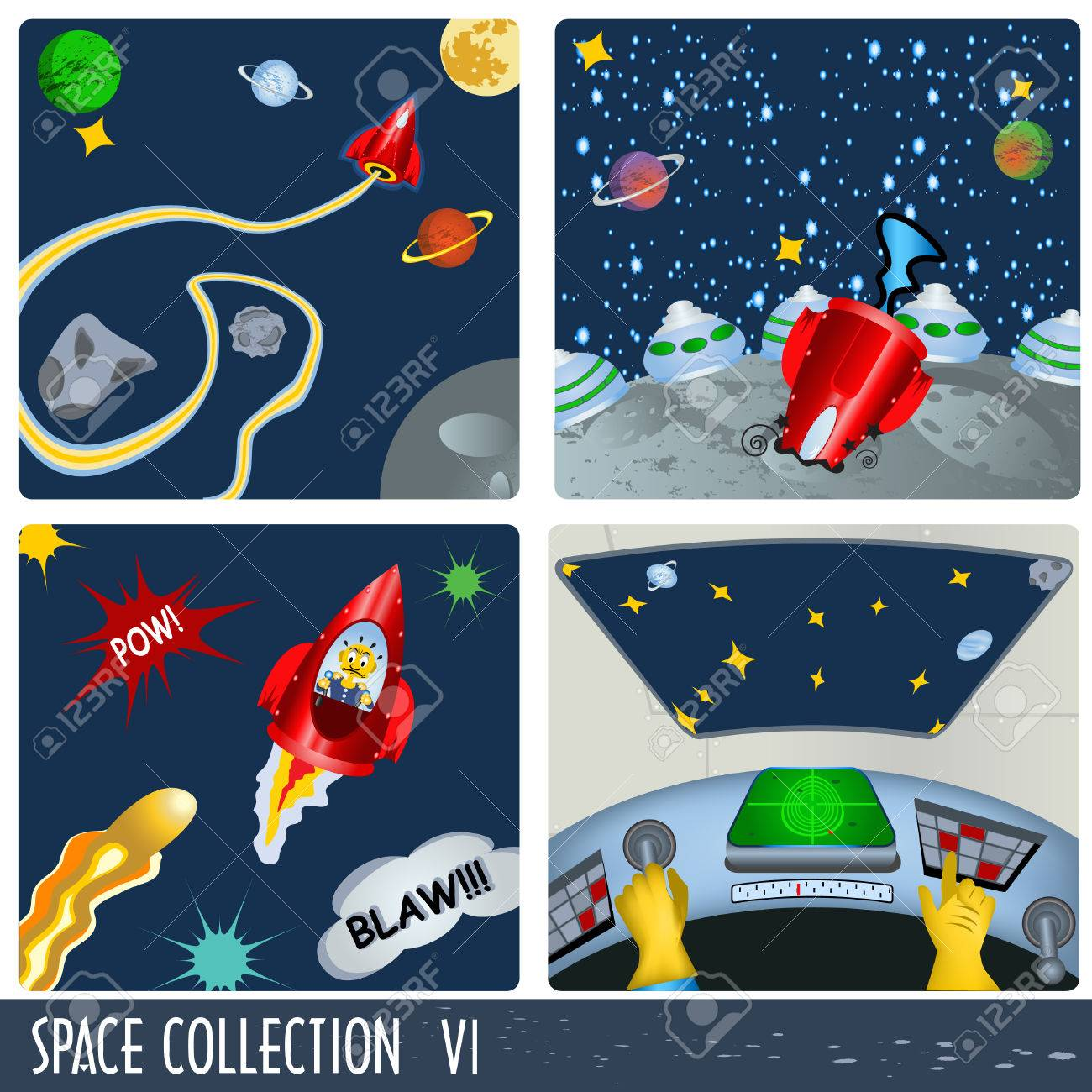 Space collection 6, astronauts in different situations. - 7355311