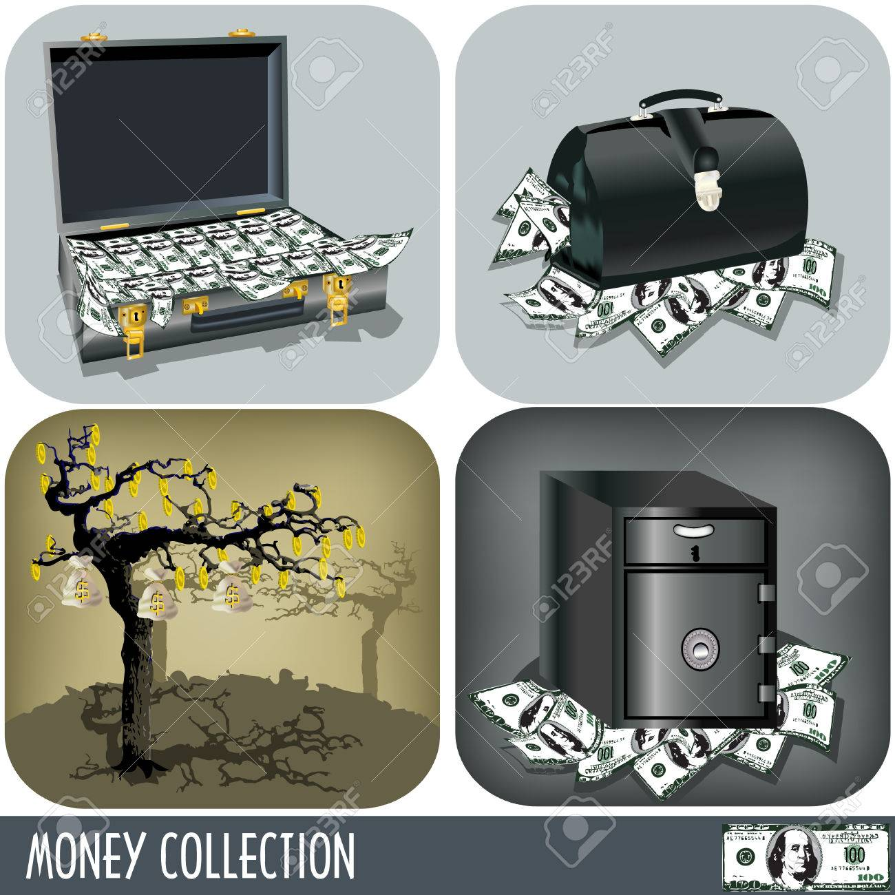 Collection of four different illustrations, money related. Stock Vector - 7744439