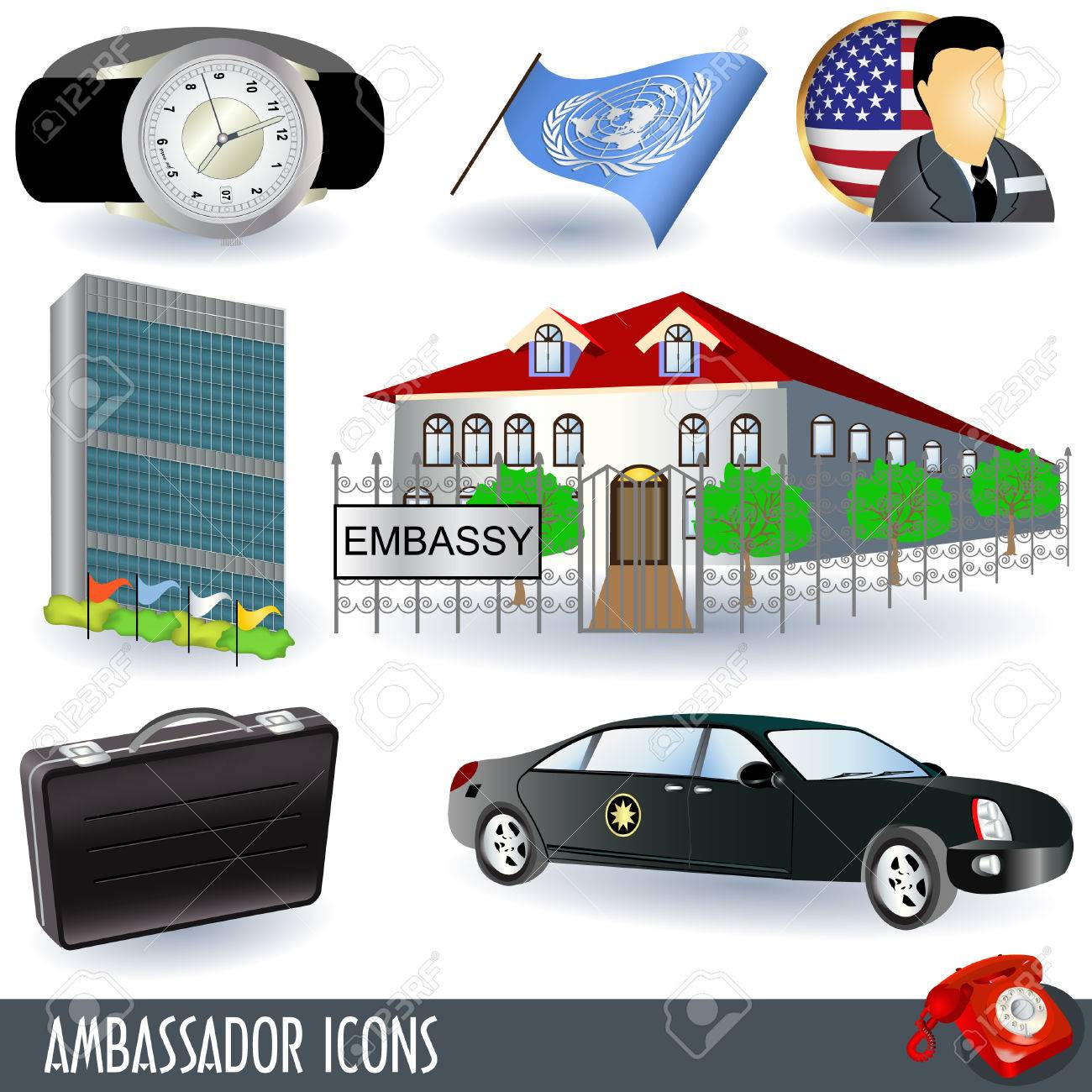 A collection of ambassador icons, nine colored illustrations. Stock Vector - 7905159