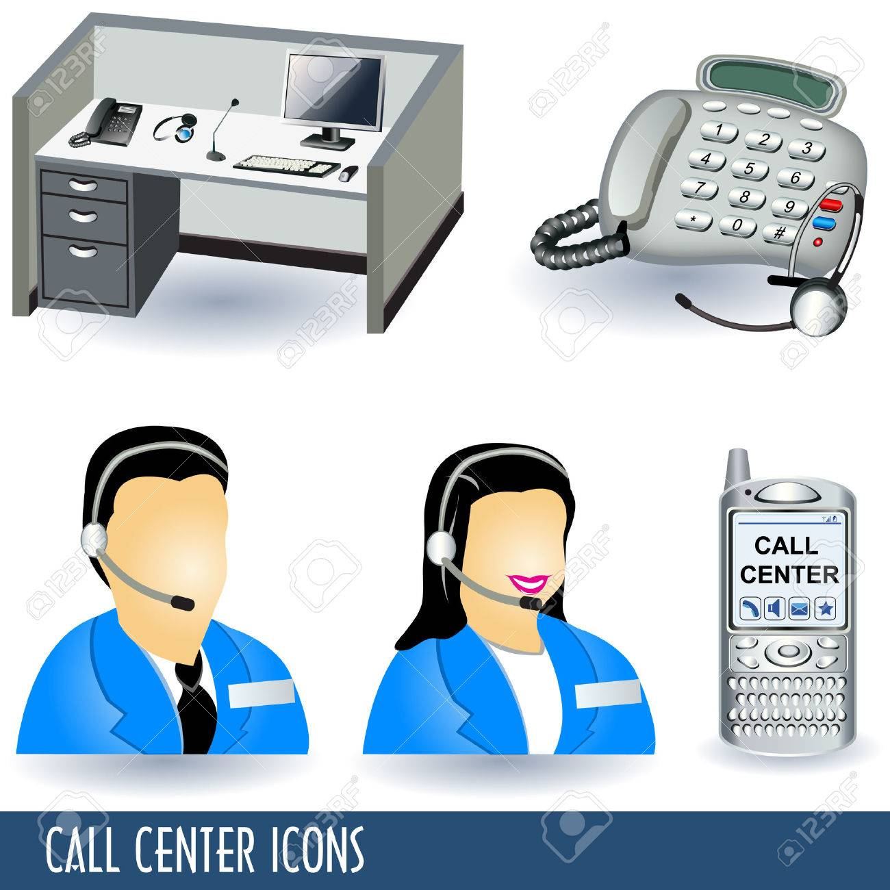 Collection of five call center illustration icons. - 7905169