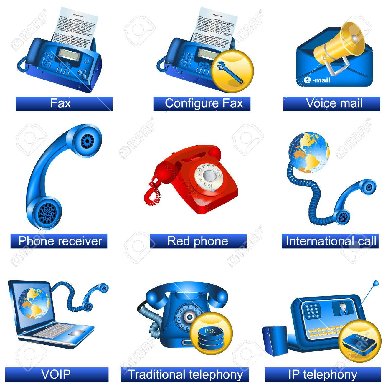 Collection of 9 blue phone icons isolated separately on white background. - part 3 - 8686469