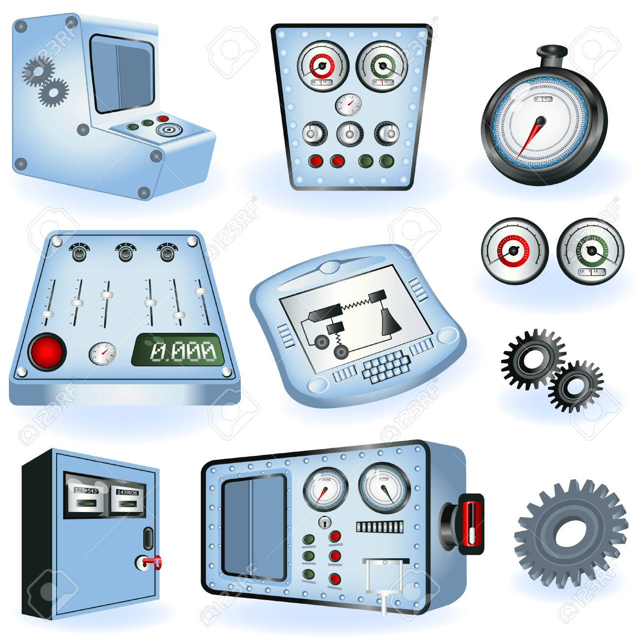 A collection of different machine operators - electric controls illustrations Stock Vector - 8903517