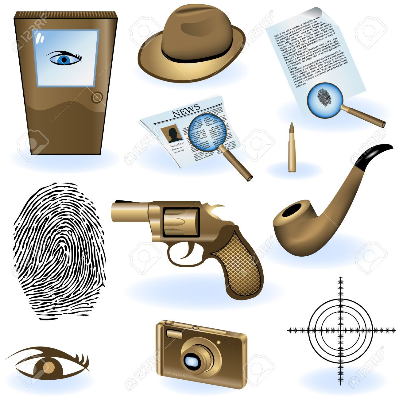 A collection of different private detective icons. - 8903520