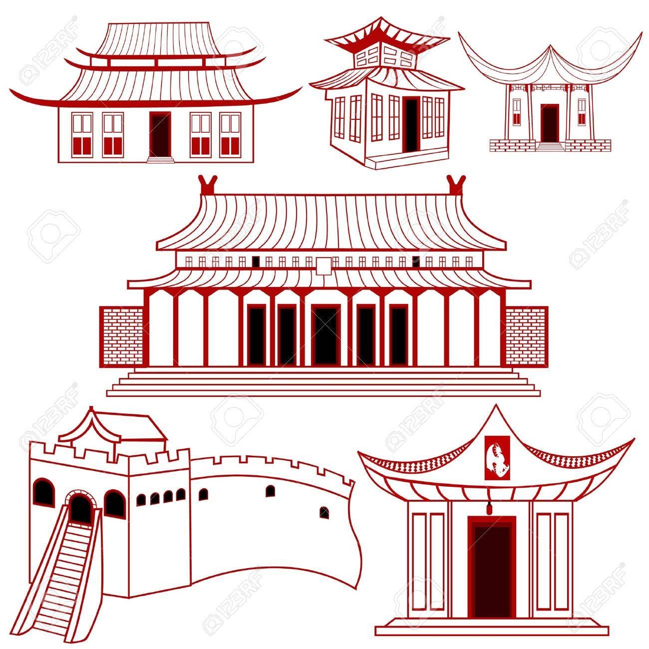 中国語のコレクションは伝統的な建物のイラストを説明しました。