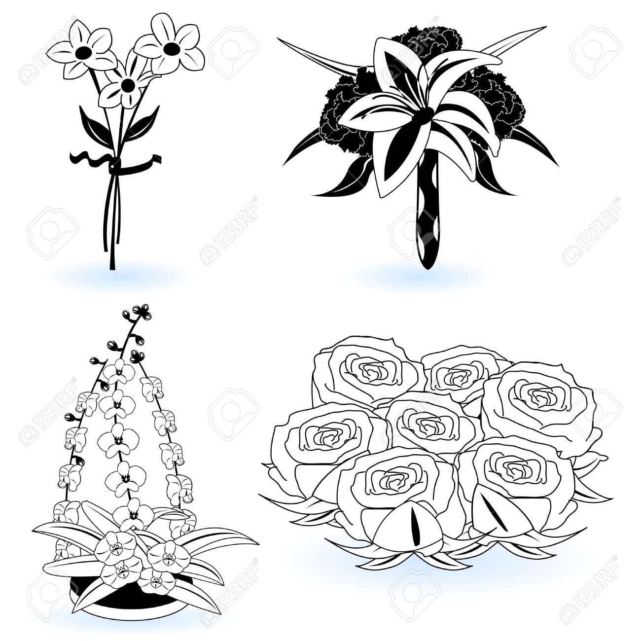 A collection of black and white different flower illustrations, part 4 Stock Vector - 9200038