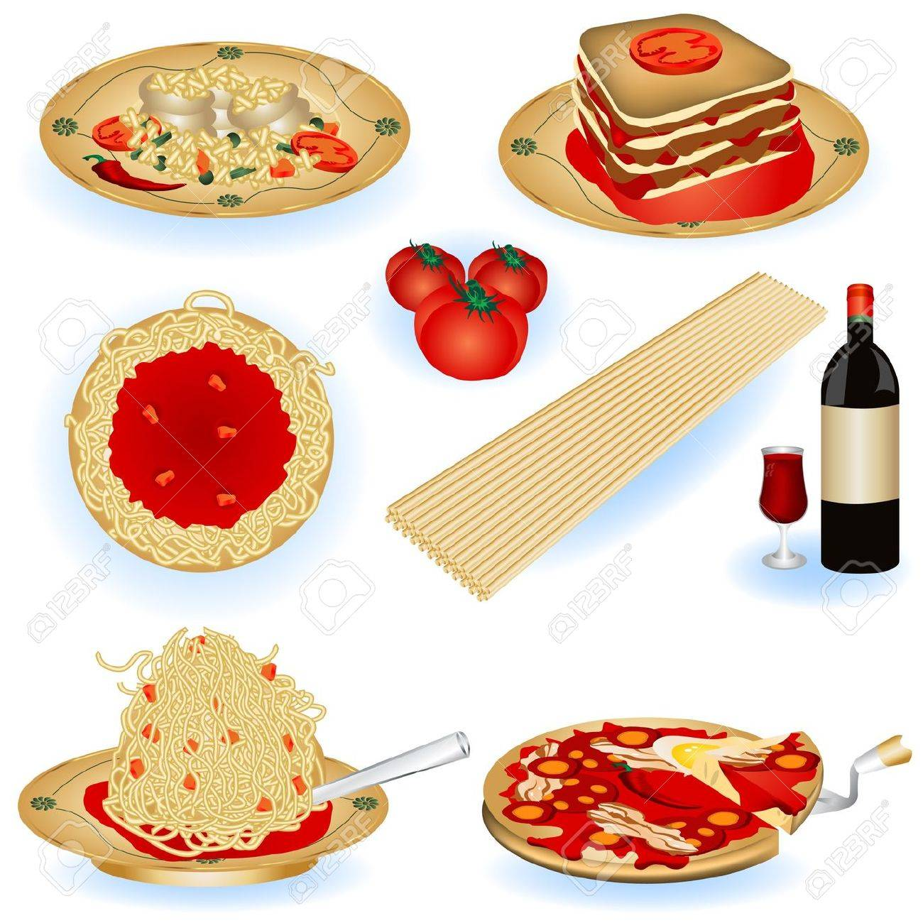 A collection of Italian food color illustrations. - 9200046