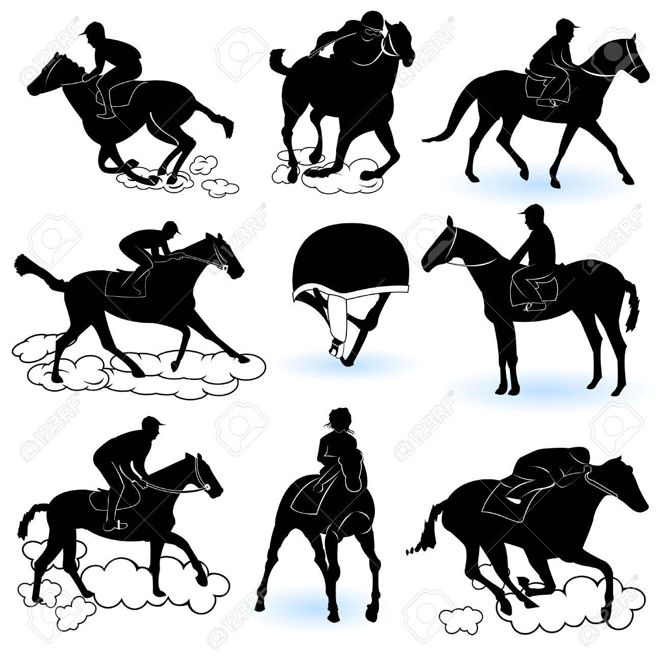 Illustration of 8 different jockey silhouettes, and a jockey cap Stock Vector - 9717827