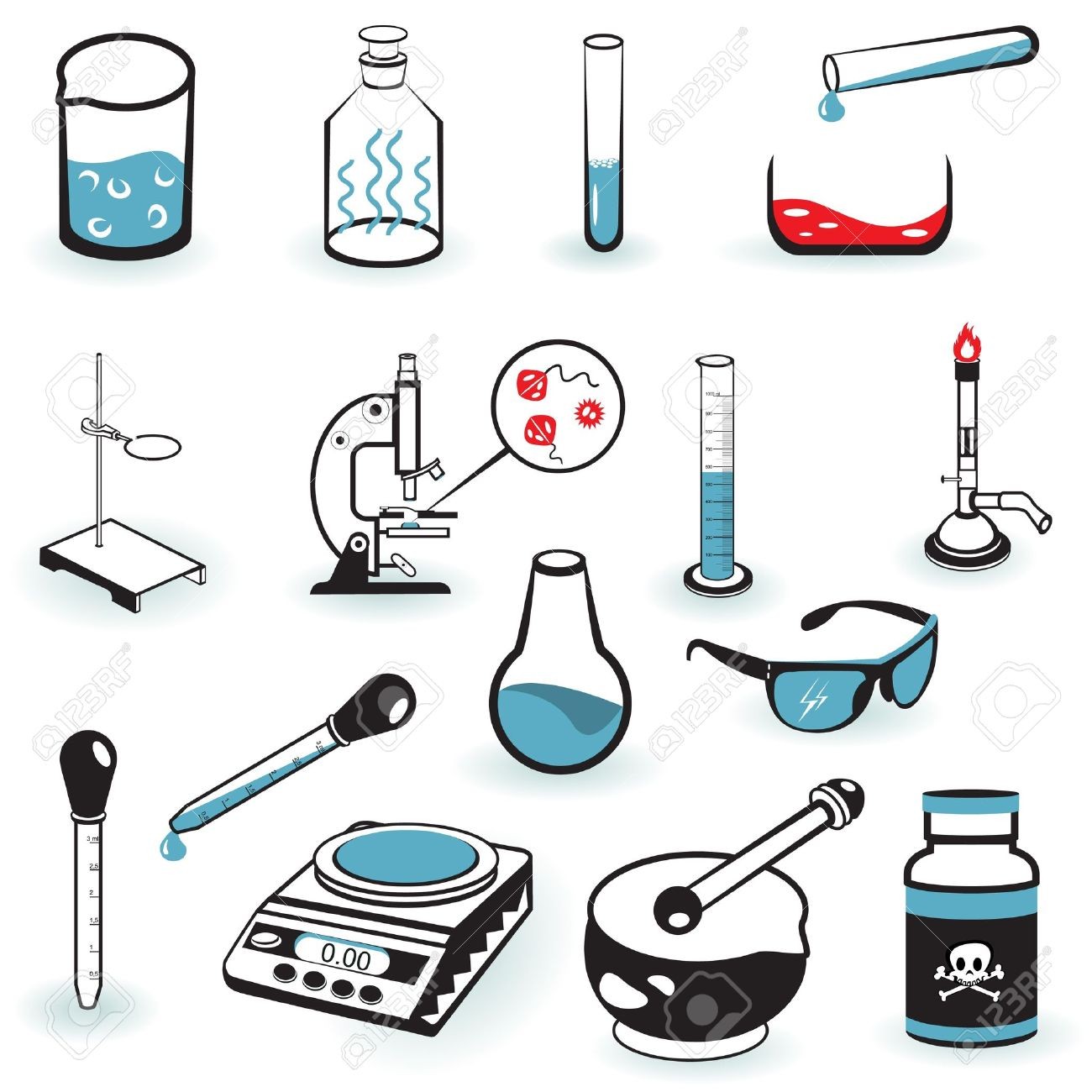 A Collection Illustration Of Different Laboratory Tools. Royalty ...