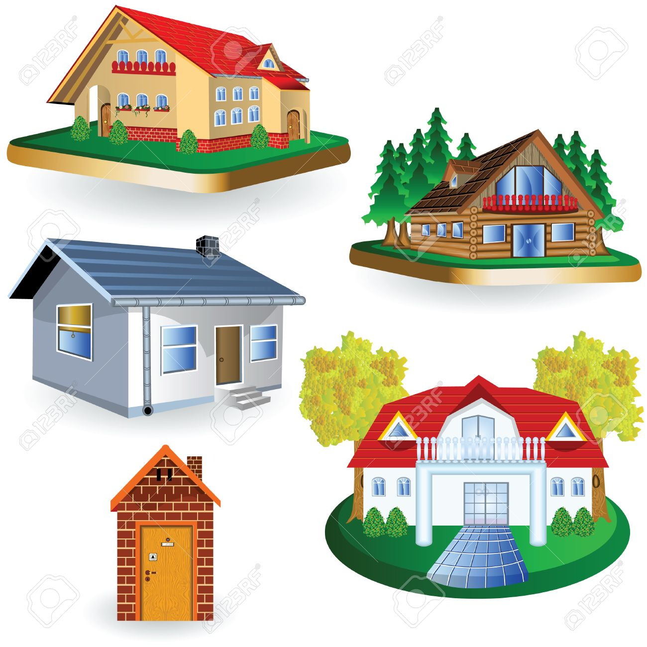 Remarkable A Collection Of Four Different House Illustrations Royalty Free Largest Home Design Picture Inspirations Pitcheantrous