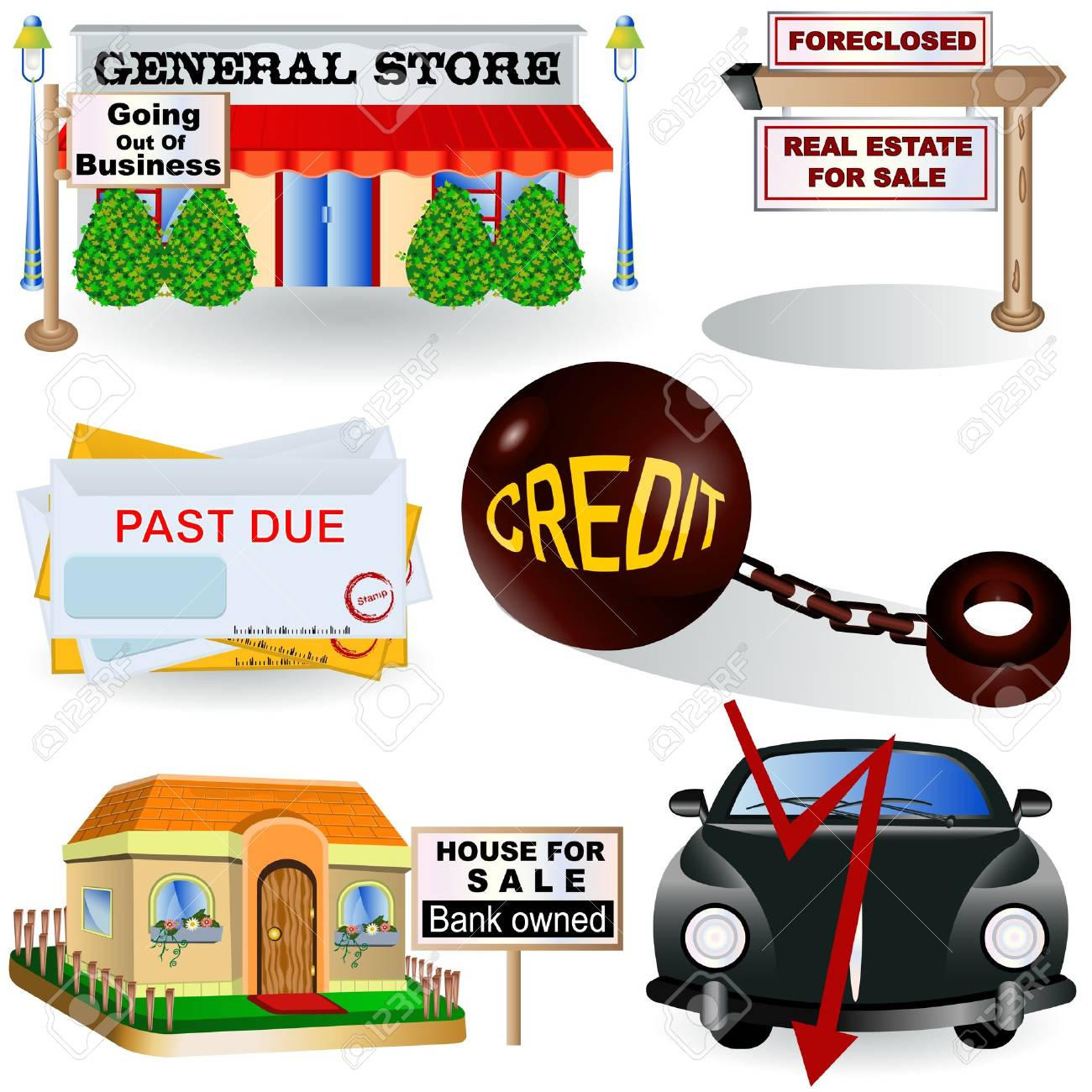 Illustration of different recession images, part 3 Stock Vector - 11133559