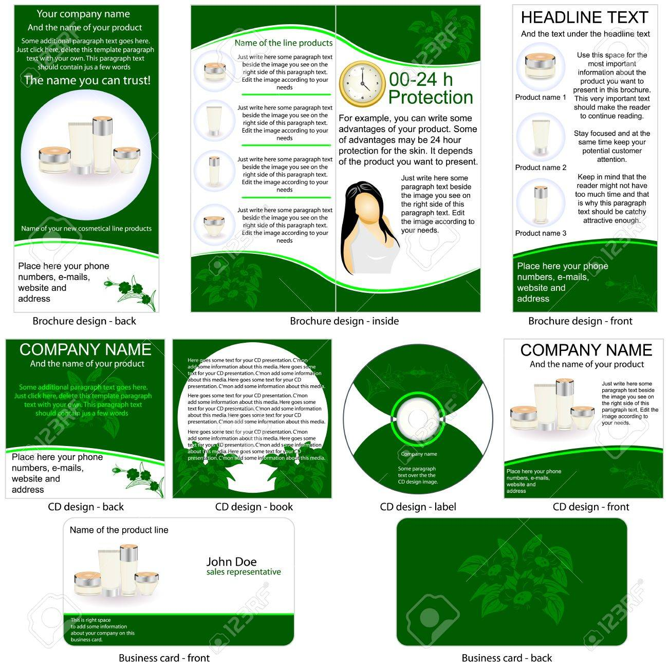 Cosmetic product stationary - brochure design, CD cover design and business card design in one package and fully editable. Stock Vector - 12321351