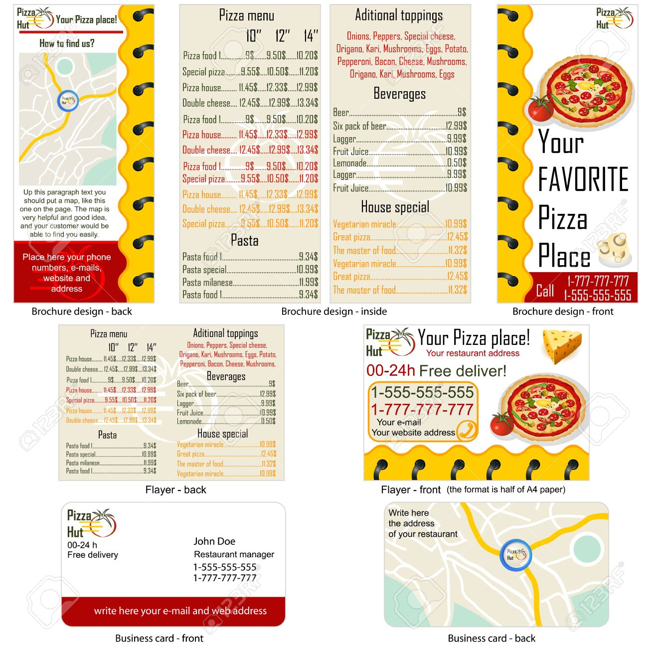 Pizza restaurant stationary - brochure design, flyer design and business card design in one package and fully editable. - 12321336
