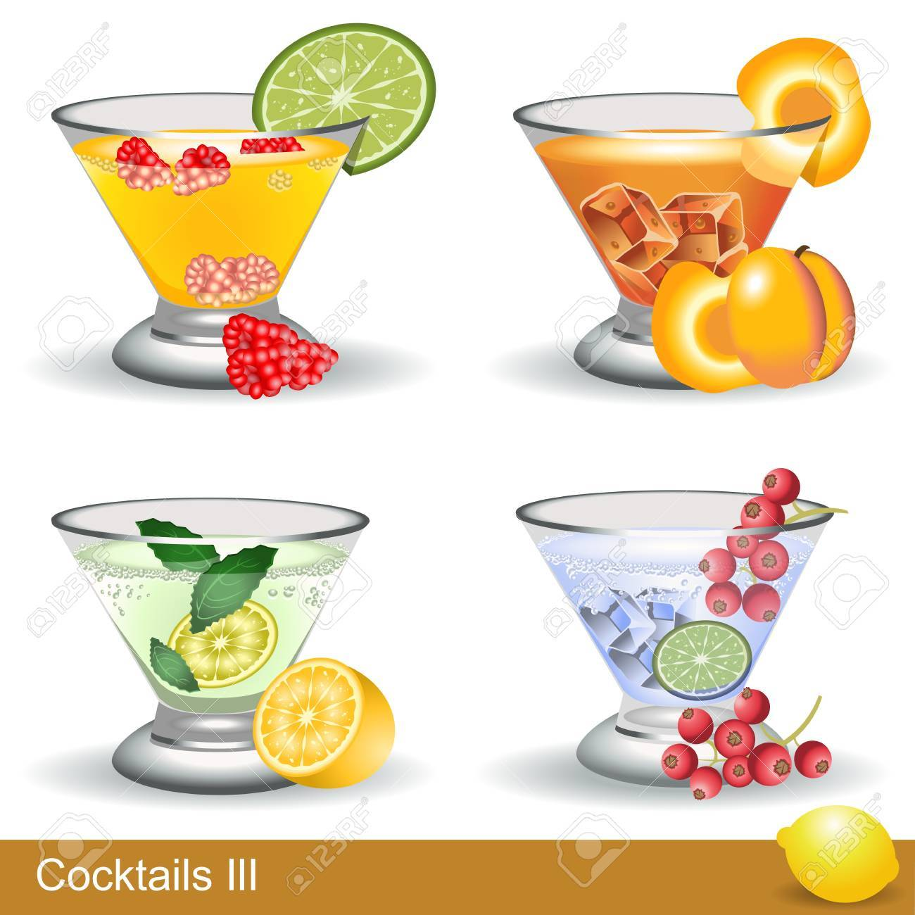 A collection of four different cocktails with fruits - 12490829