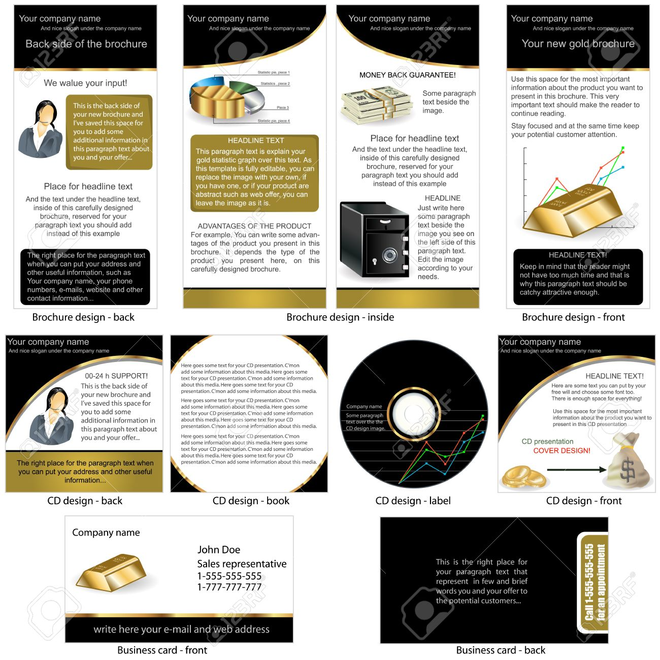 Gold Stationary - Brochure Design, CD Cover Design And Business ...