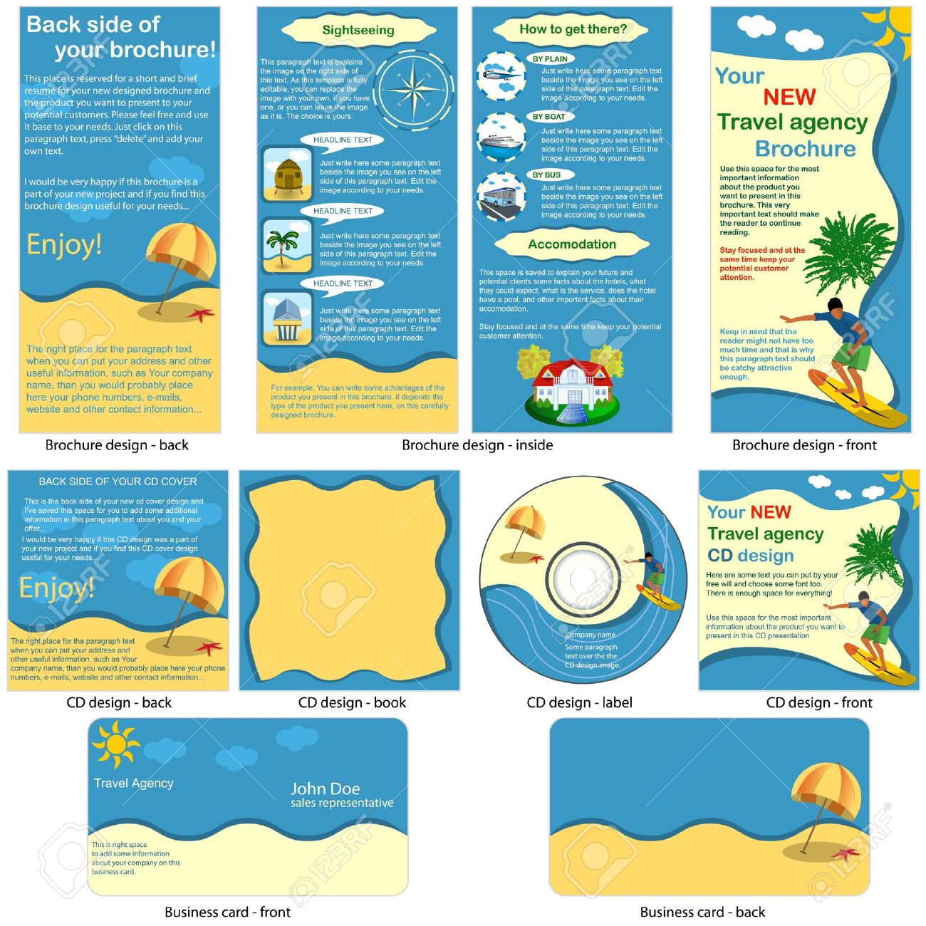 Travel stationary - brochure design, CD cover design and business card design in one package and fully editable - 12490886