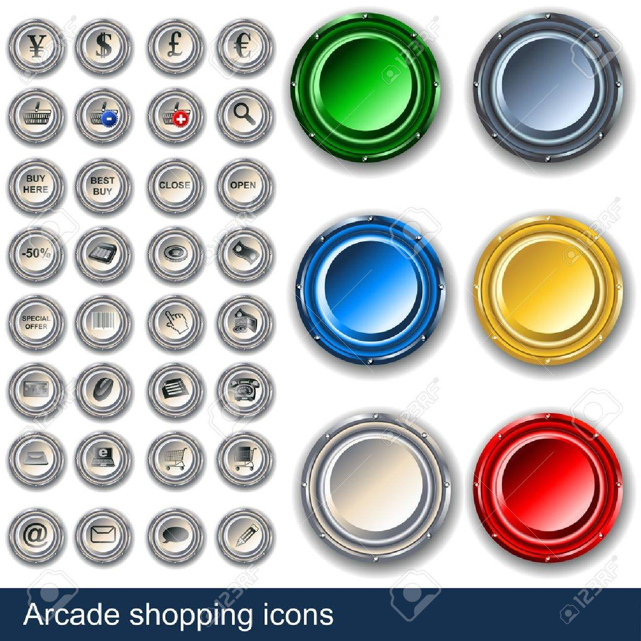 Collection of shopping icons along with arcade buttons