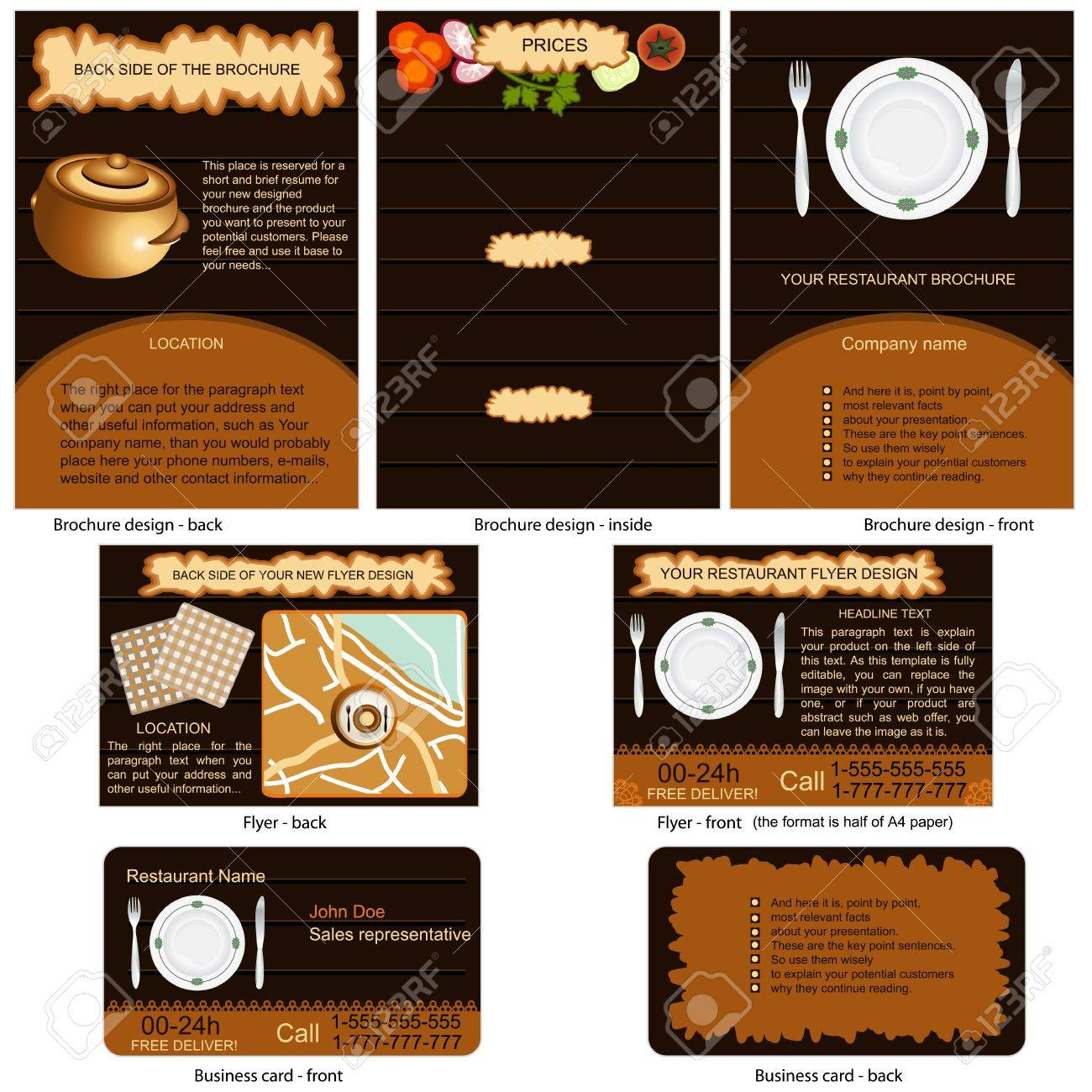 Restaurant stationary - brochure design, flyer design and business card design in one package and fully editable Stock Vector - 12909189