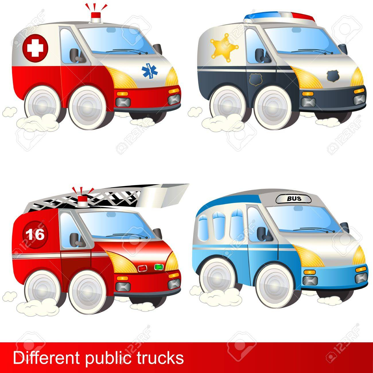Four different public trucks ambulance police firetruck bus - 13651432