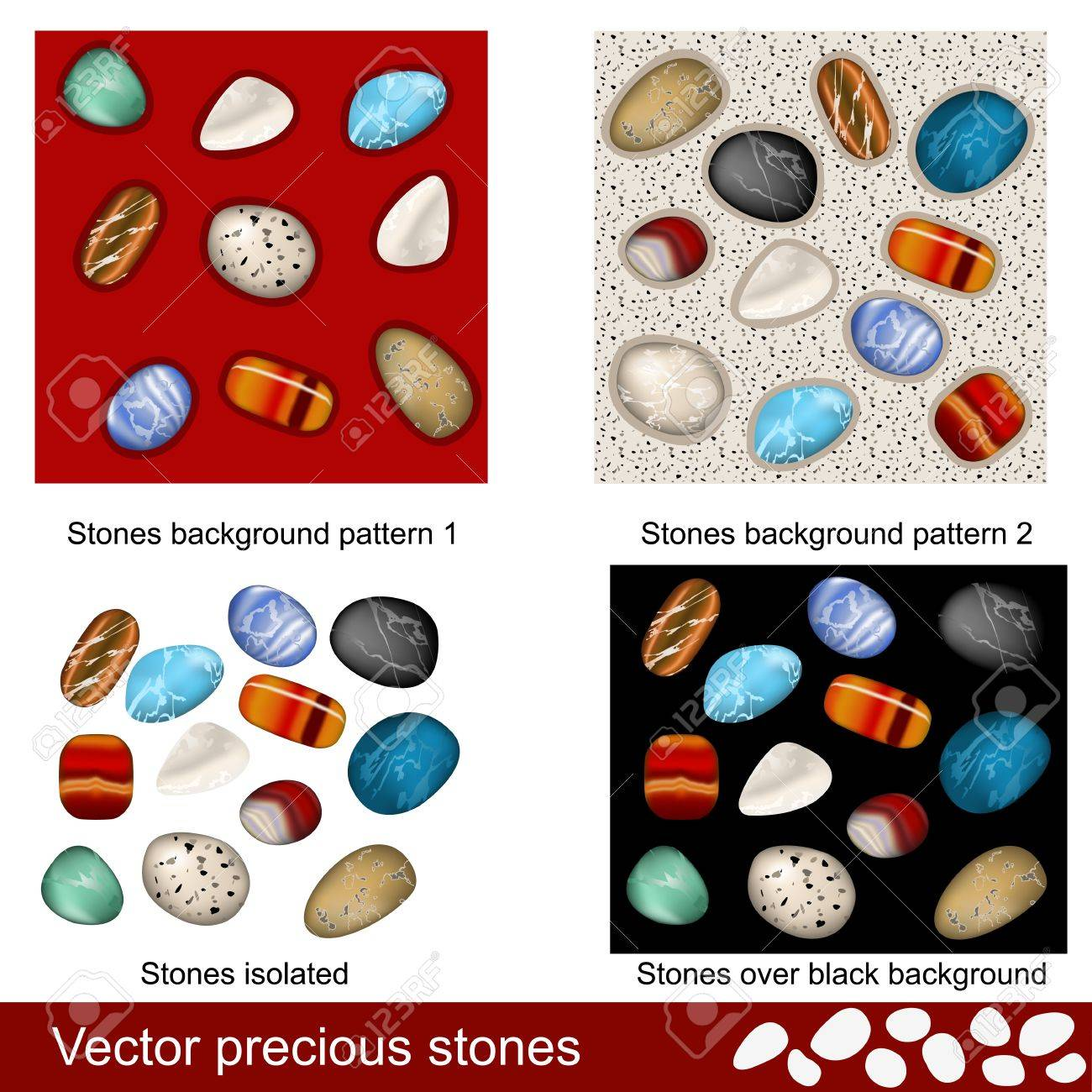 Different Precious Stones - Isolated And As Different Background ...