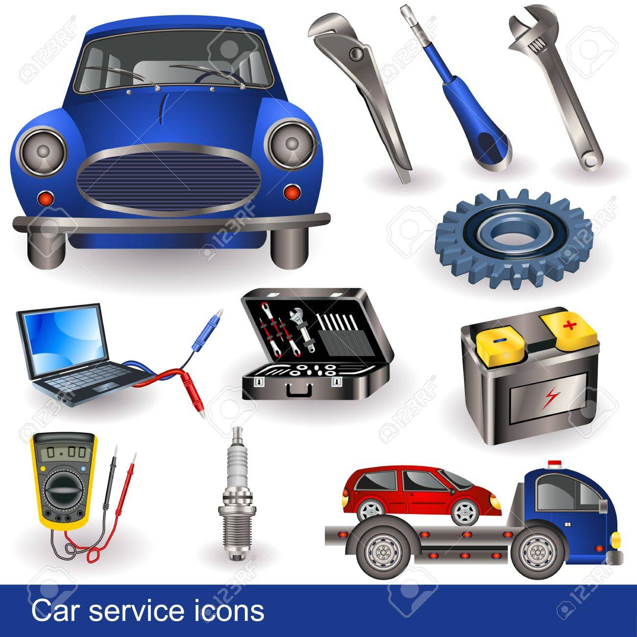 Collection of different car service tools and objects - icons. - 14070939