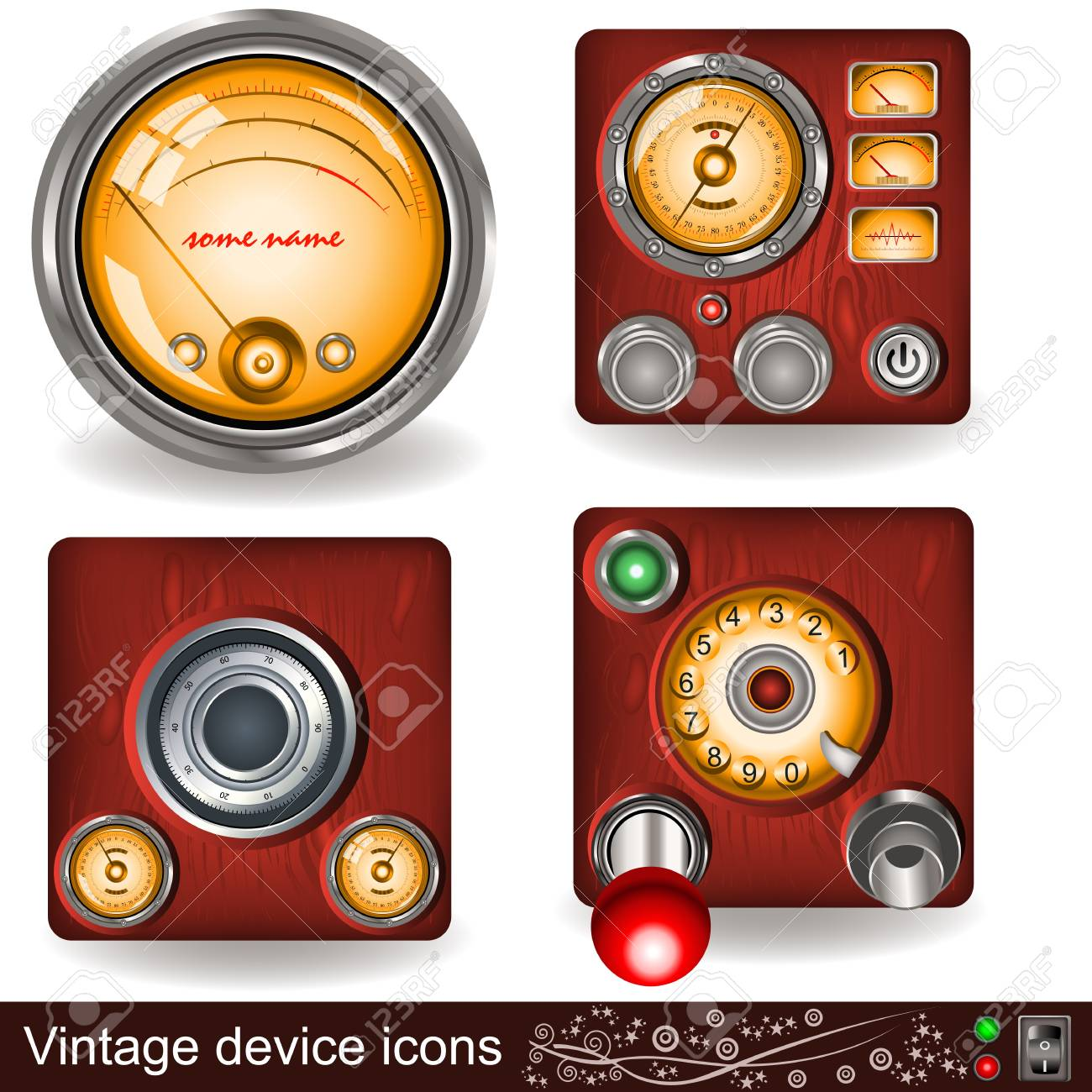 Illustration of four different vintage device icons Stock Vector - 14837025