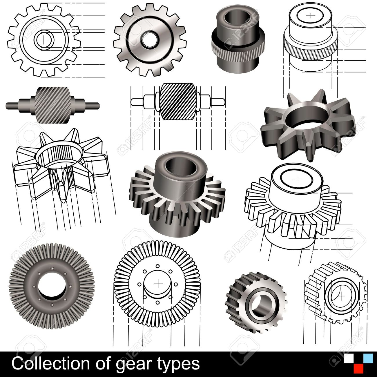 Collection of gear types - 15709512