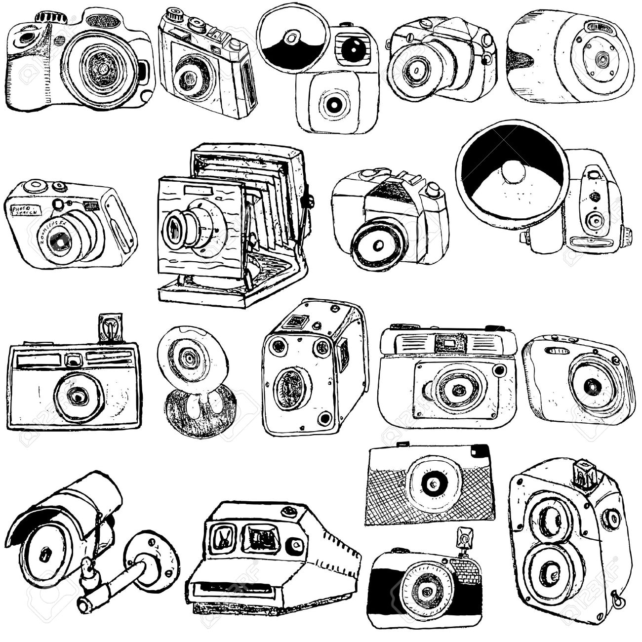 Great collection of different photo camera sketch over white background Stock Vector - 16268652