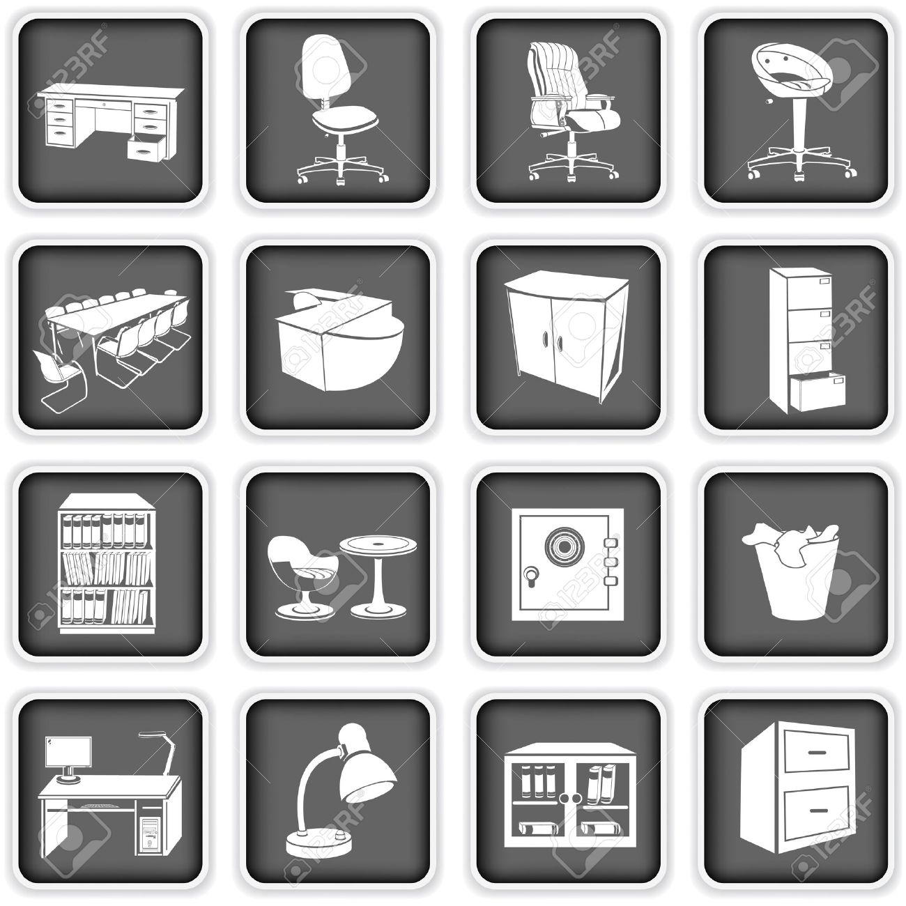 10201 Office Table Set Cliparts Stock Vector And Royalty Free