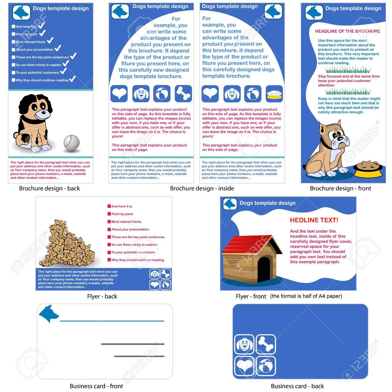 dogs template design brochure design flyer design and business vector dogs template design brochure design flyer design and business card design in one package and fully editable