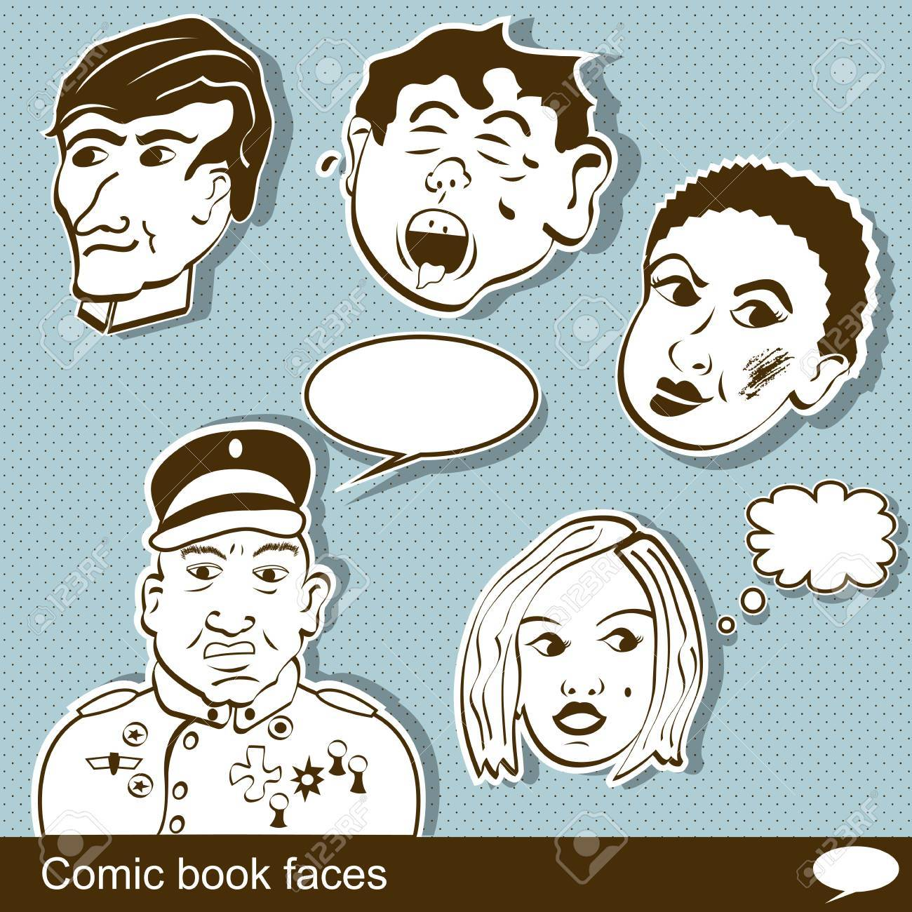 Comic book heads Stock Vector - 21653890