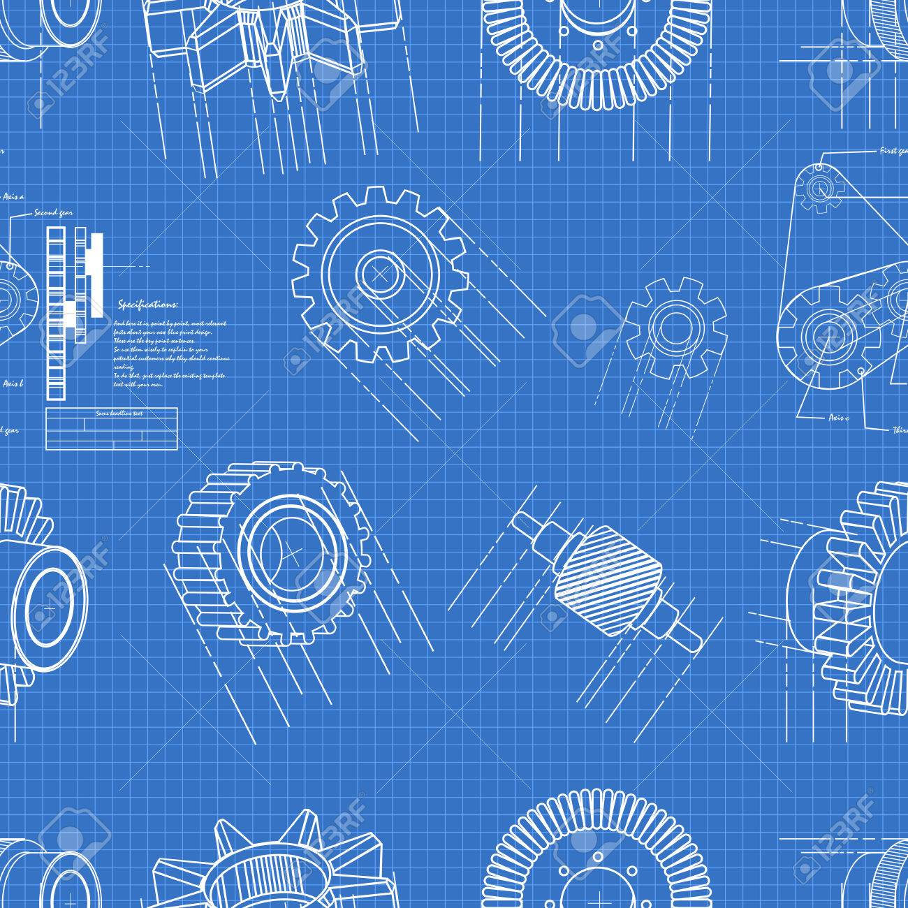 Blueprint gears seamless pattern royalty free cliparts vectors and blueprint gears seamless pattern stock vector 23122056 malvernweather Images