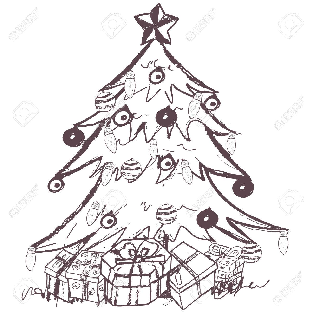 Hand Drawn Doodle Sketch Of A Christmas Tree With Presents Royalty