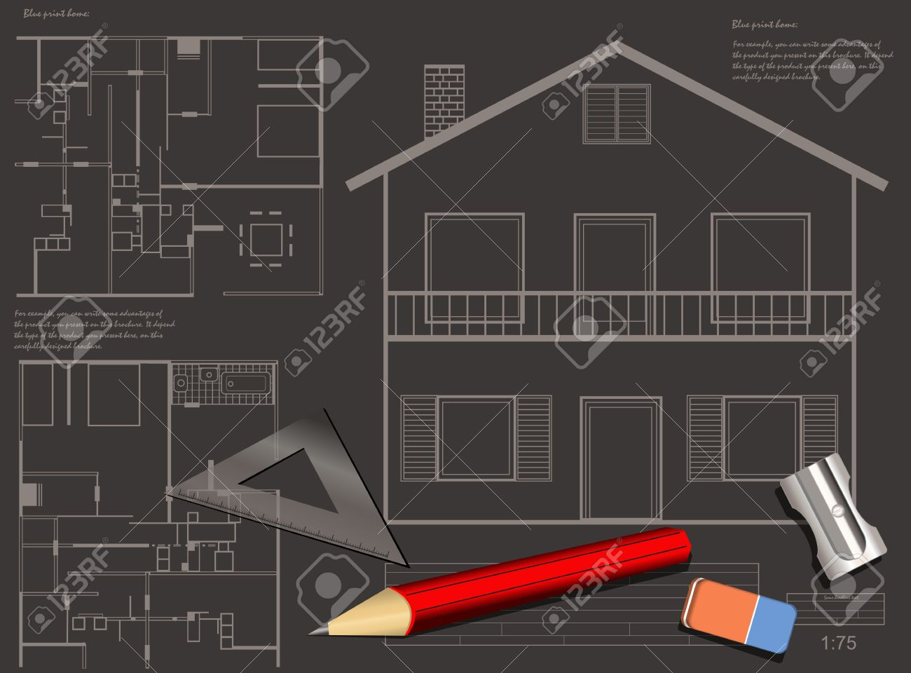 House construction blueprint vector background royalty free house construction blueprint vector background stock vector 24905585 malvernweather Image collections