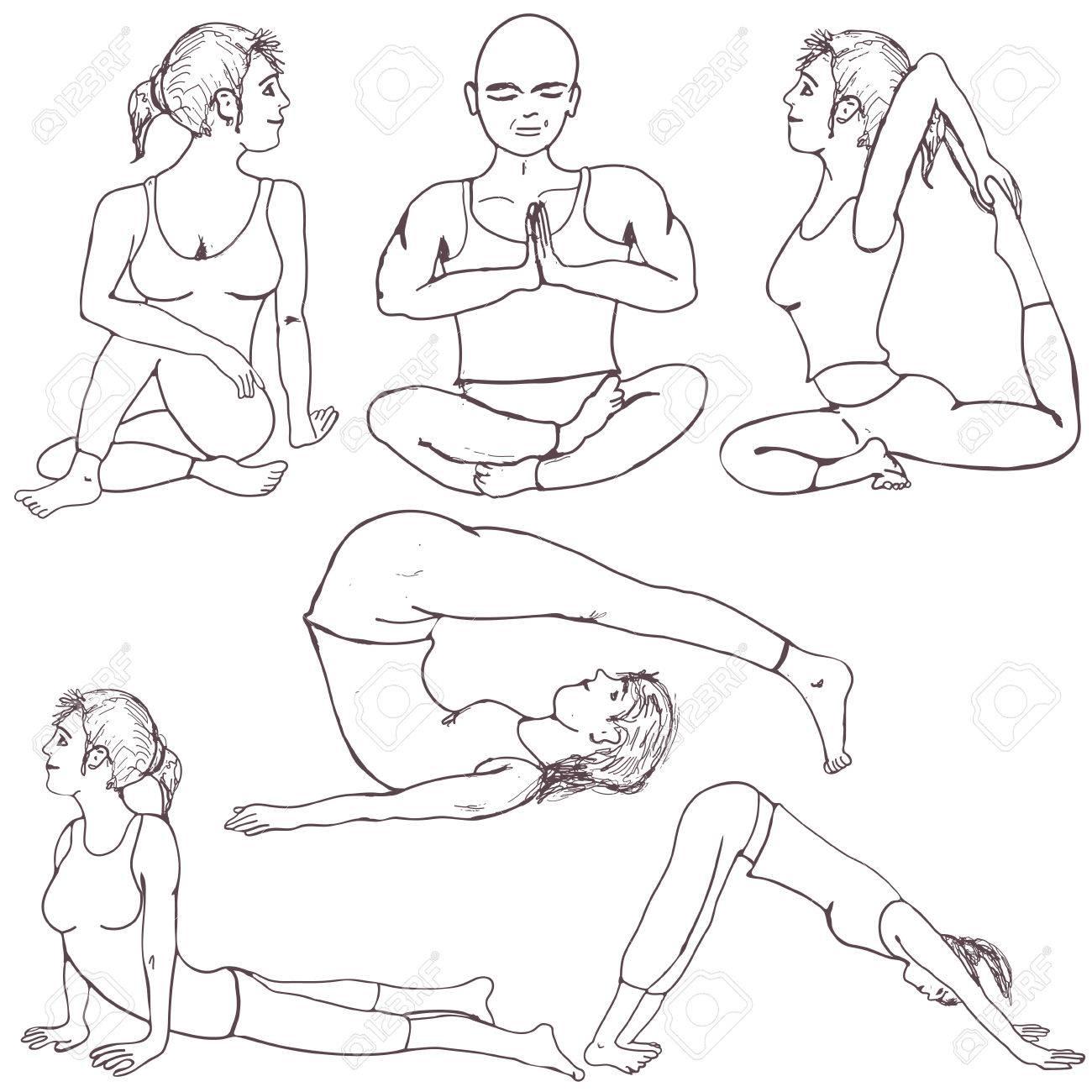 Fünf Verschiedene Hand Gezeichnet Fitness Yoga-Positionen ...