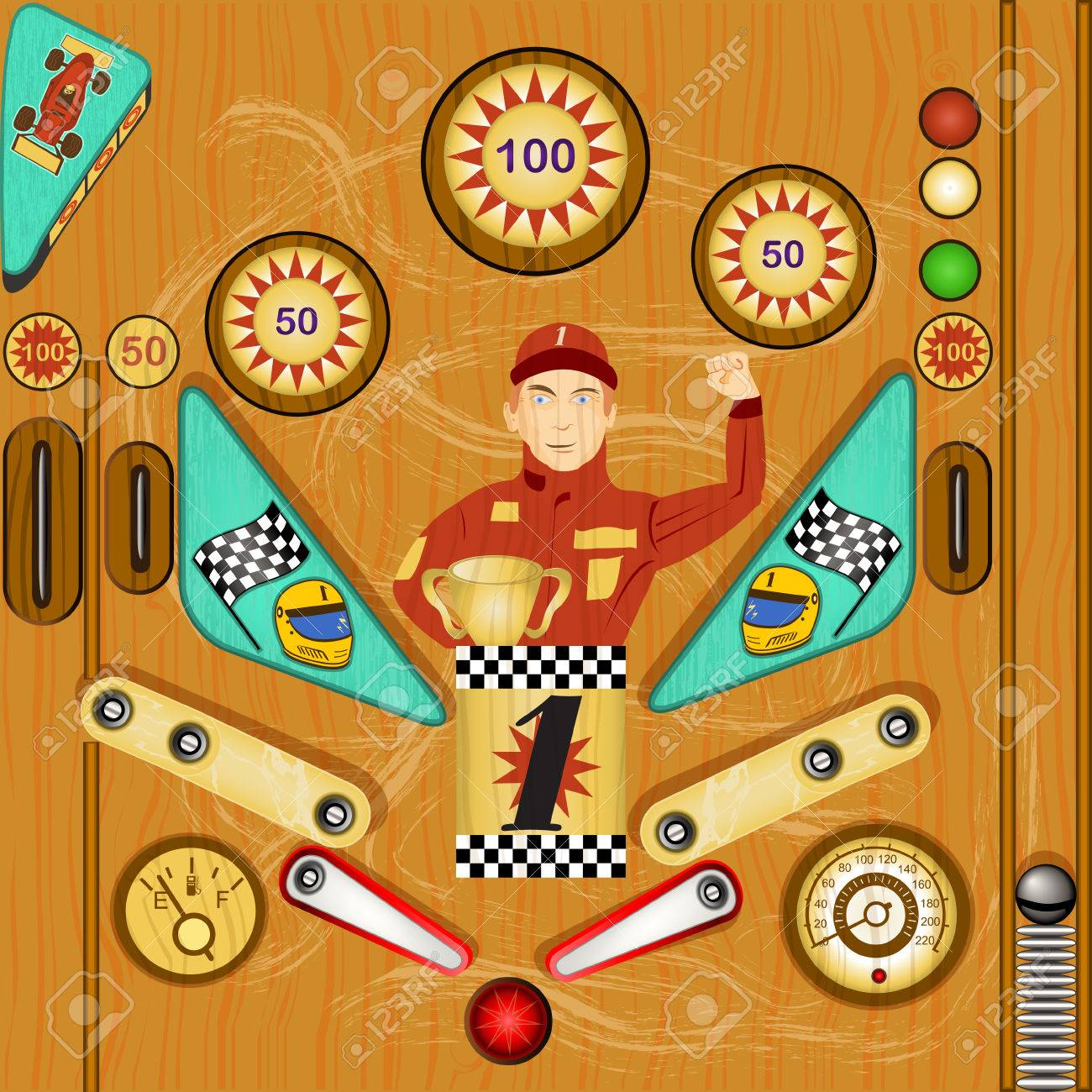 Vector detailed illustration of a vintage pinball icon - part two - 35817172