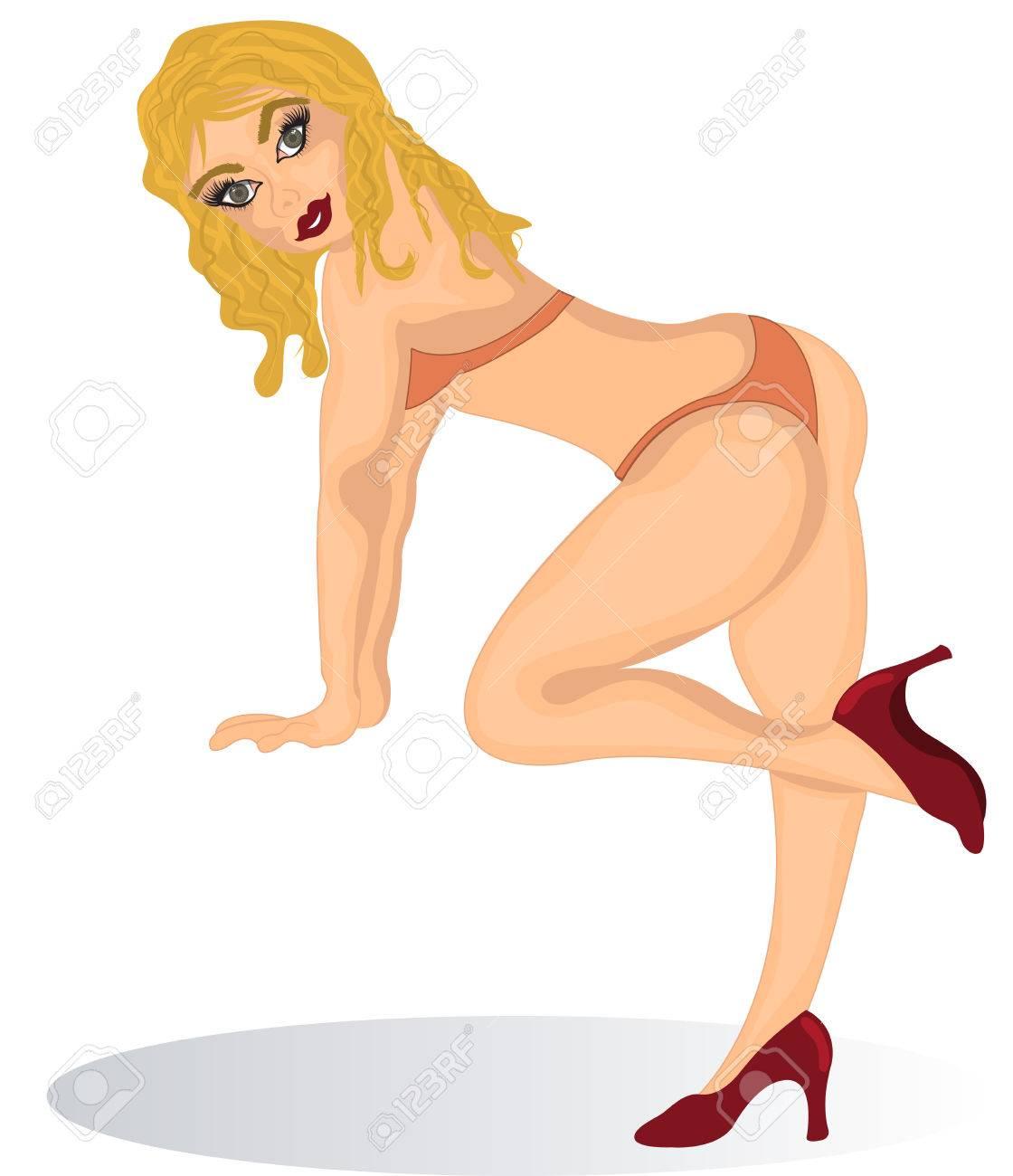 De Rubia Dibujos Un Una Sexy Bikini Chica Animados Traje En Ilustración trohxQdCBs