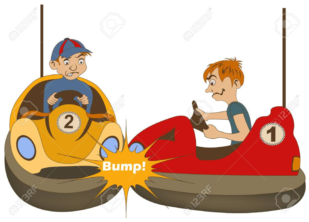 vector illustration of two teenage bumper car drivers bumping rh 123rf com Stickers Clip Art Roller Coaster Clip Art