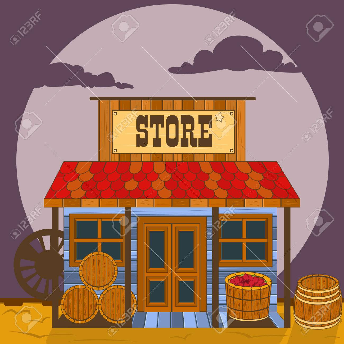 Vector illustration of an old west building - store. - 50254668