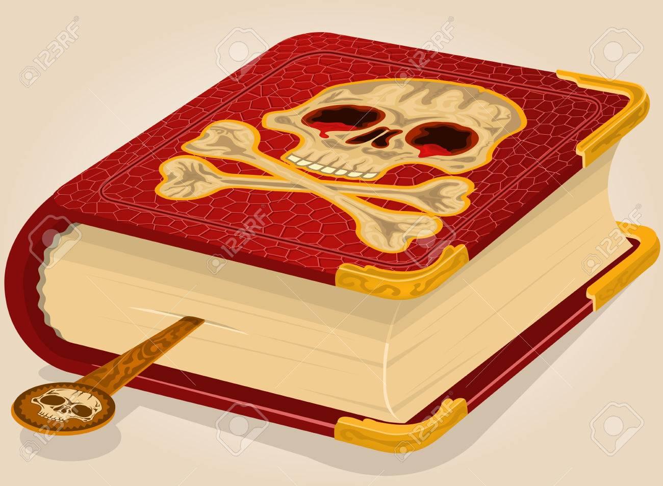 Illustration Vectorielle D Un Livre D Horreur Crane Sanglant