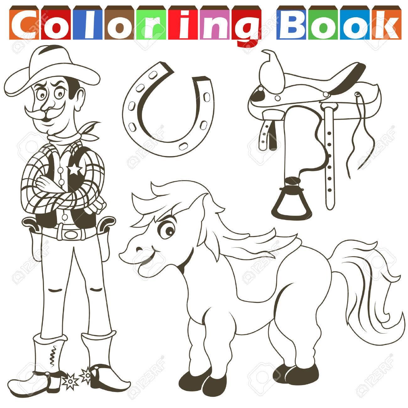 Ilustración Vectorial De Dibujos Animados De Una Recopilación De Imágenes De Vaquero Para Colorear