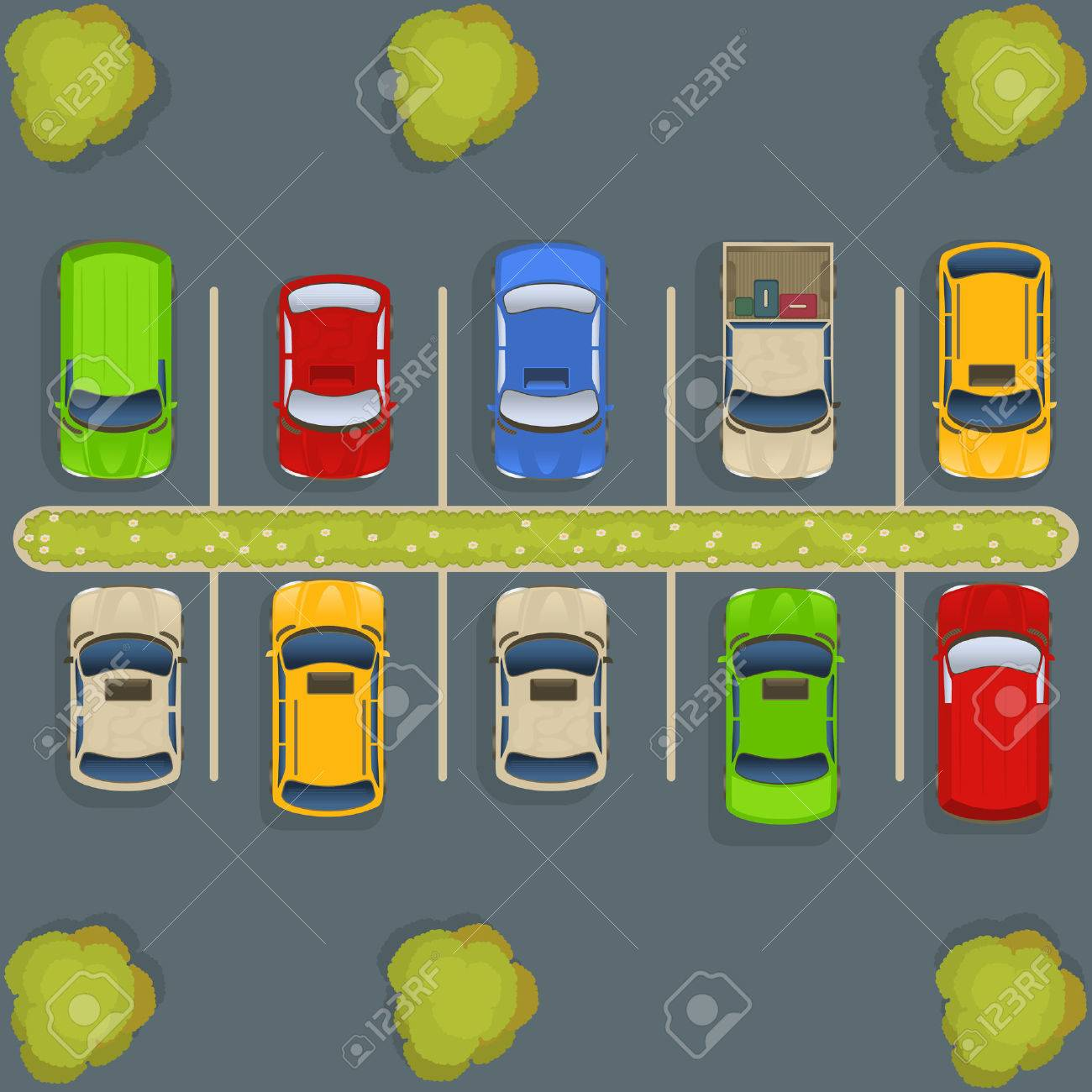Parking lot top view - 56308379