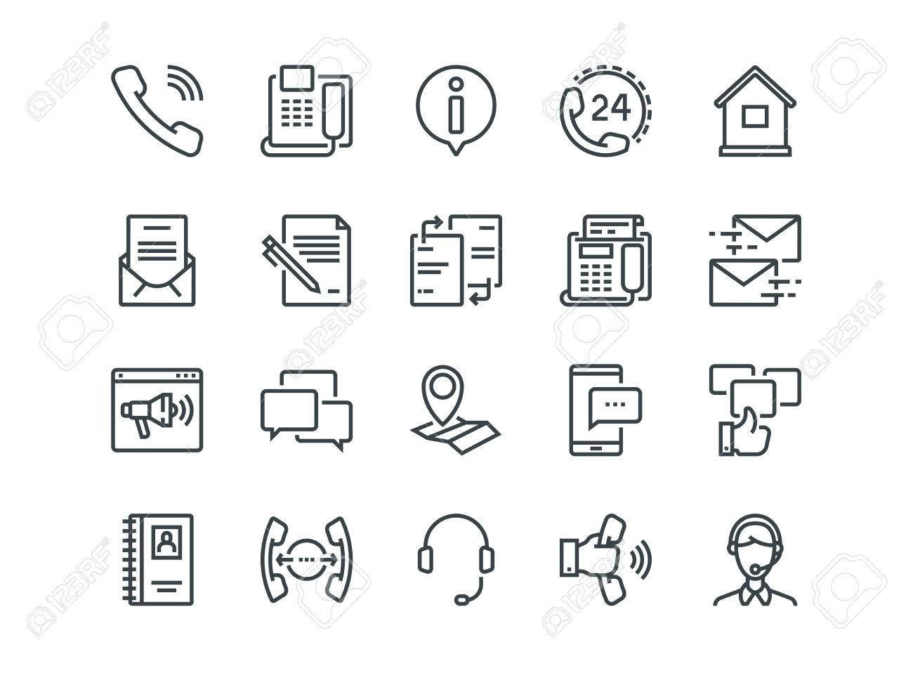 Contact us - Set of outline icons. - 75810958