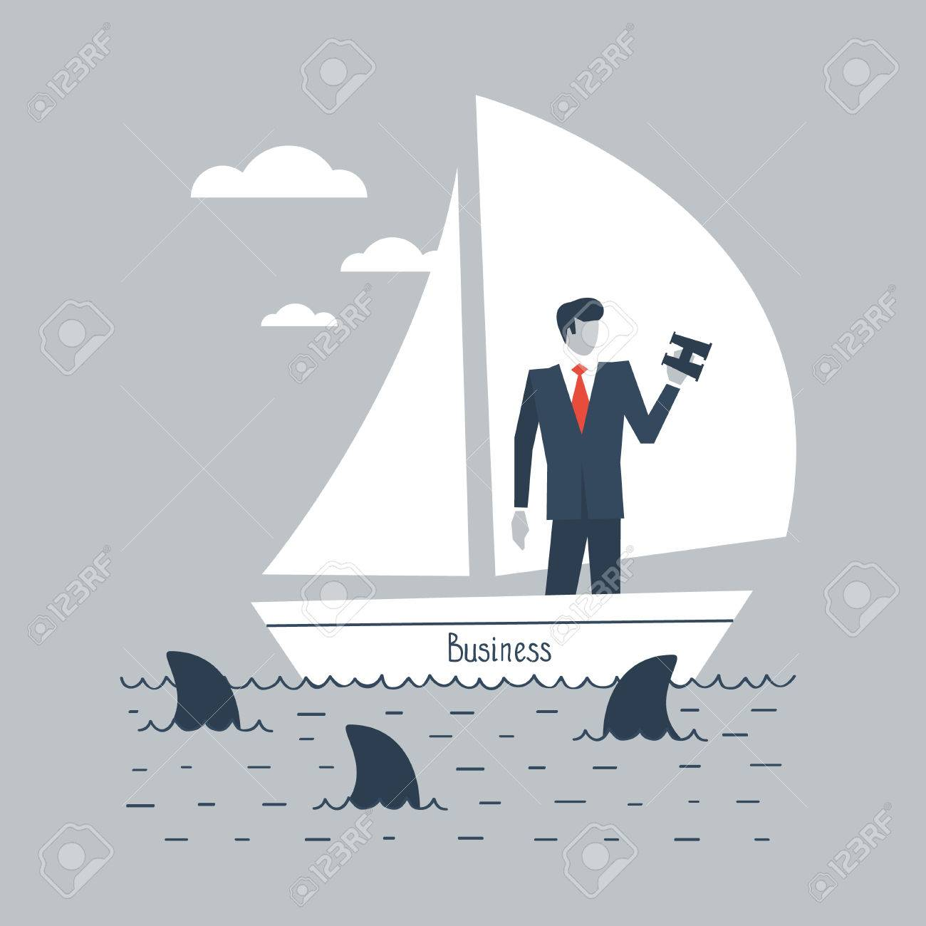 A businessman steering business - 49589411