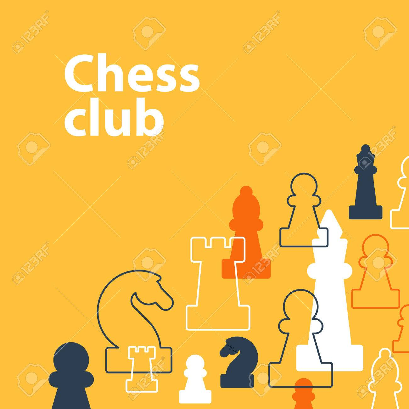 Template with chess pieces. Chess club or school, competition or strategy concept. - 49575782