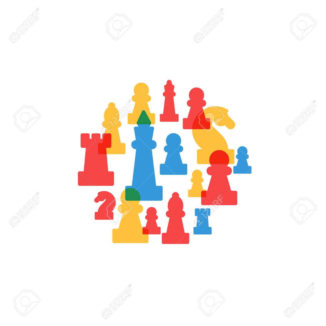 Colorful chess pieces in circle, chess club or school, competition or strategy concept. - 49575787