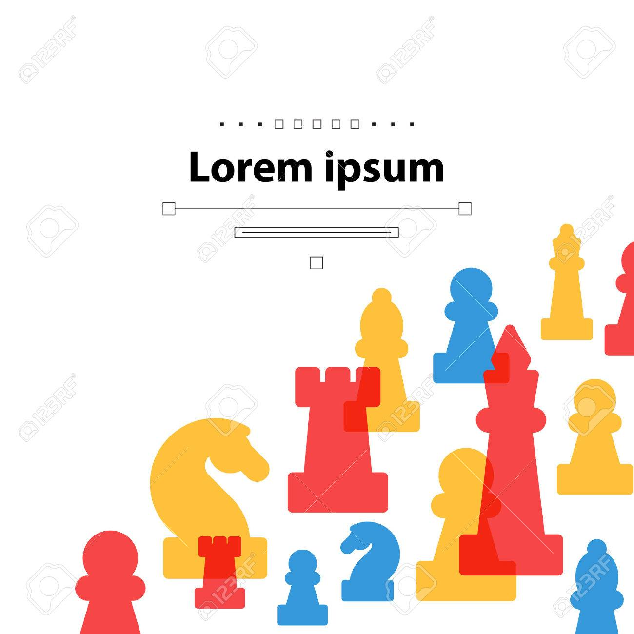 Colorful chess pieces, chess club or school, competition or strategy concept. Cover template. - 49575740