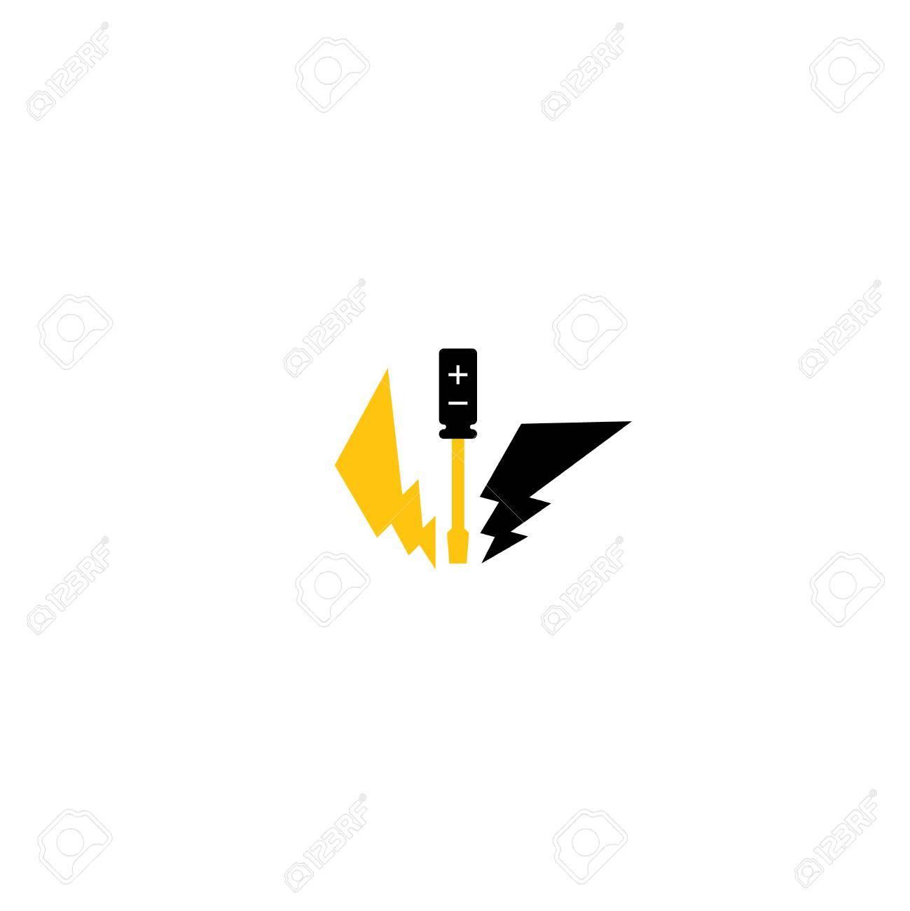 Electrical service set. Under construction. Caution sign. - 49575720