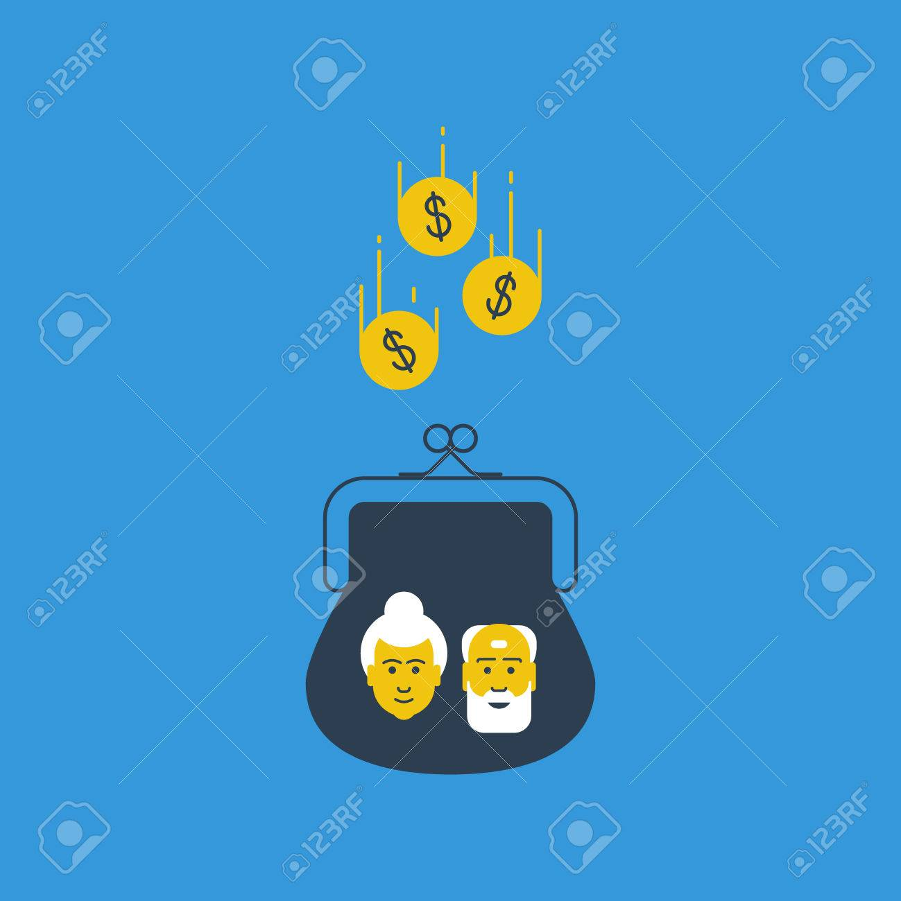 Pension savings. Bank account interest. Future thinking. Wealthy aged couple. - 49711835