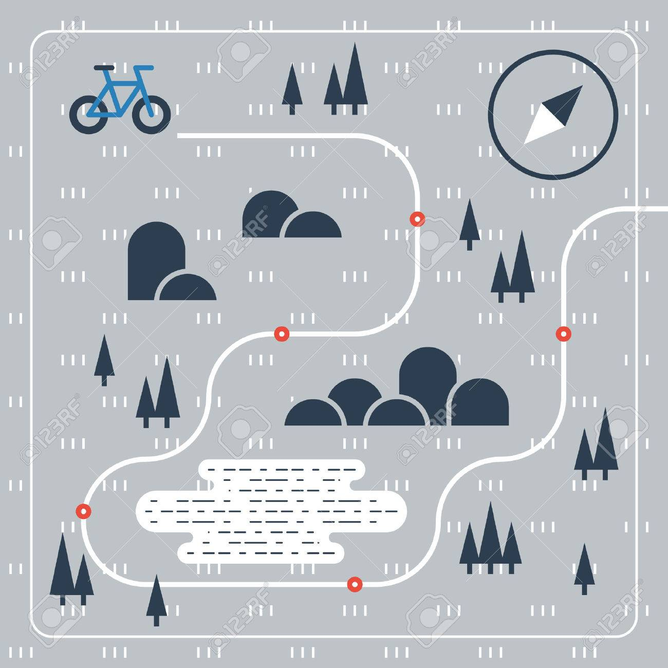 Cross country bicycle map - 49711858